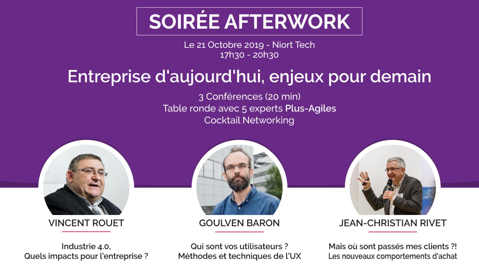 Plus agiles 4h pro event - Entreprise d'aujourd'hui enjeux pour demain - conférences et table ronde à Niort le 21 octobre 2019